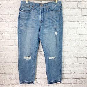 J. Crew Straightaway Jeans Size 32 Distressed Blue